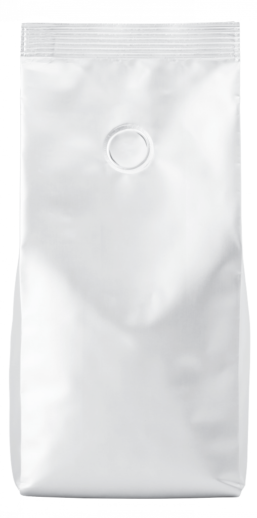 blank white flexible coffee packaging with degassing valve